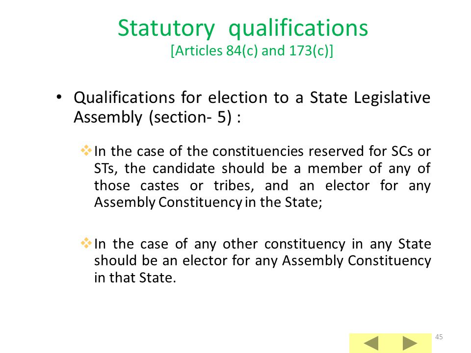 Statutory qualifications [Articles 84(c) and 173(c)]